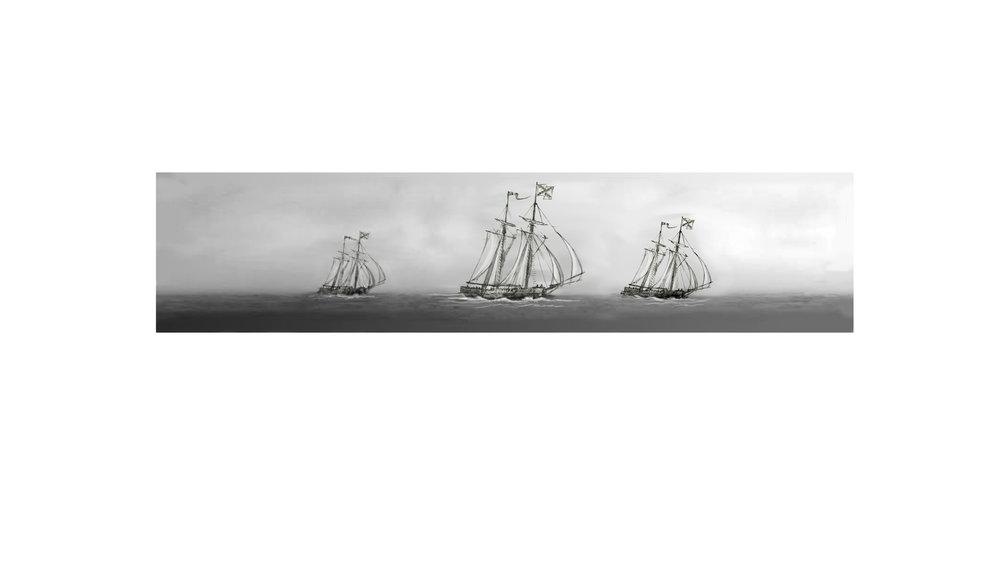 "Concept for ""Three Ships Sailing to Cuba"" • Digital Illustration, Fort Mose Visitors Center St. Augustine, FL. © KT"
