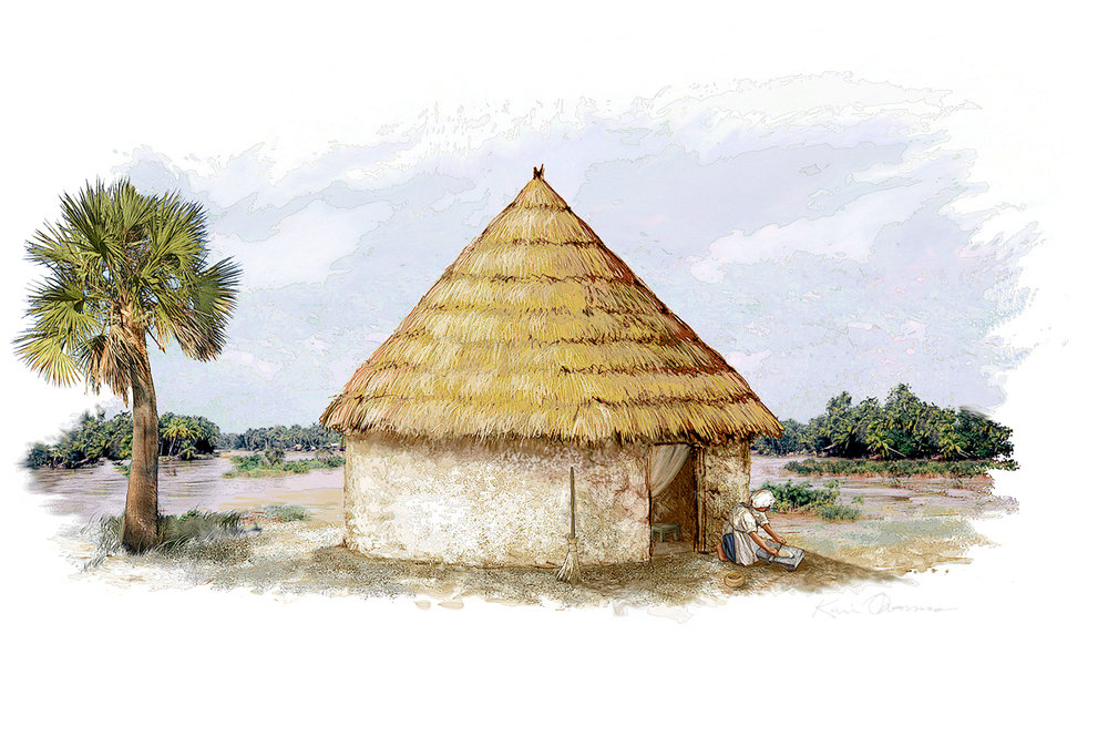 """Hut""  • Digital Illustration, Fort Mose Visitors Center St. Augustine, FL. © KT"