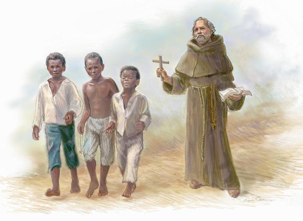 """""""Friars Walk"""" • Digital Illustration, Fort Mose Visitors Center • St. Augustine, FL. © KT"""