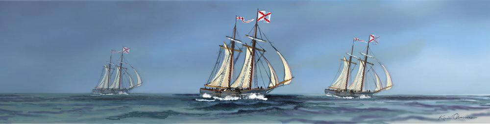 """Three Ships Sailing to Cuba"" • Digital Illustration, Fort Mose Visitors Center St. Augustine, FL. © KT"