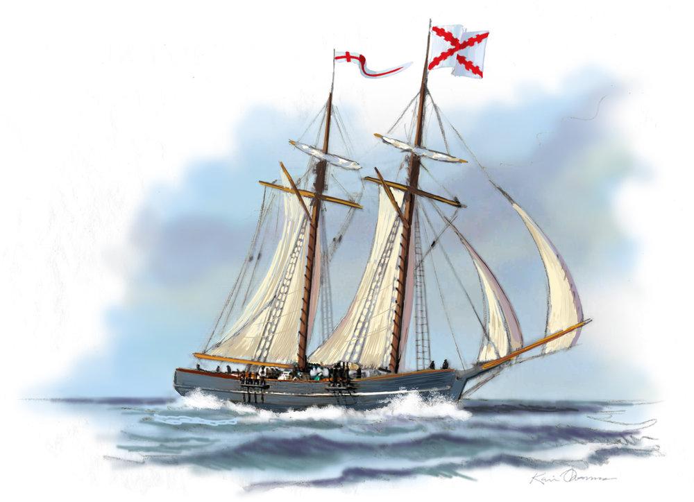 """""""Sailing to Cuba"""" • Digital Ilustration, Fort Mose Visitors Center St. Augustine, FL. © KT"""