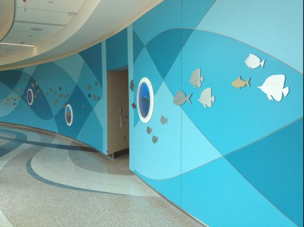 University Health Systems, Children's Hospital – Pitt County Memorial Hospital. Installed view of the corridor wall art of the Children's Hospital.