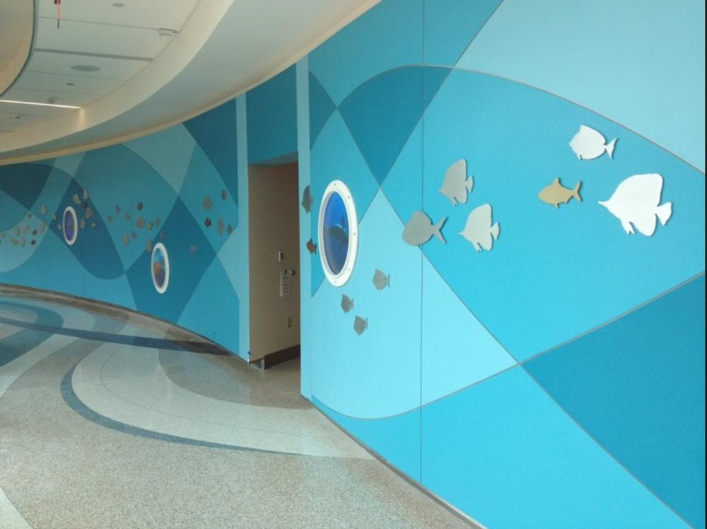 University Health Systems, Children's Hospital – Pitt County Memorial Hospital. Installed view of the corridor wall art of the Children's Hospital.