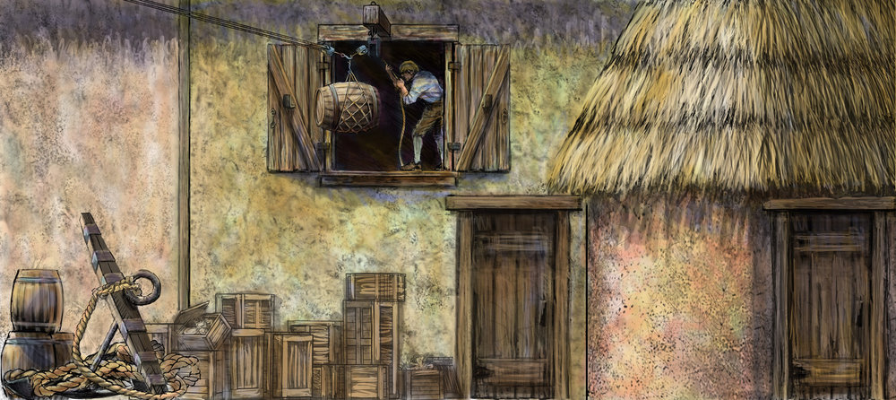 "Concept for ""Vera Cruz"" • Digital Illustration, Museum Of Florida History, Tallahassee, FL © KT"