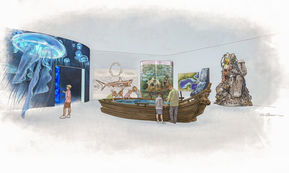 Concept illustration • Marine Science Center at Ponce Inlet, FL. © KT