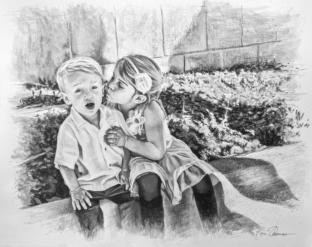 """Ella & Tommy"" • 19"" x 24"" • Pen & ink with ink wash"