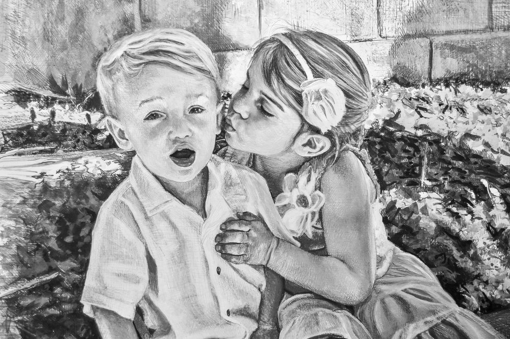 """Ella & Tommy""- detail • Pen & ink with ink wash"
