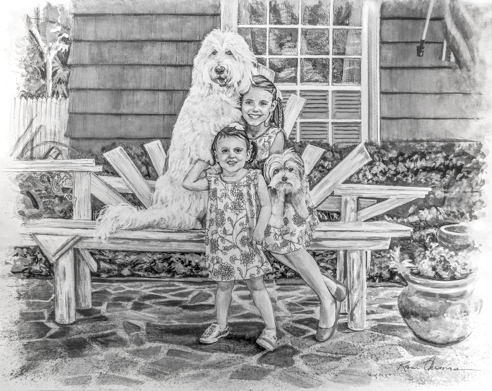 """Ansley, Audrey, Mac & Charlie"" • 19"" x 24"" • Pen and ink with ink wash. Go to blog for a progression video of this rendering."