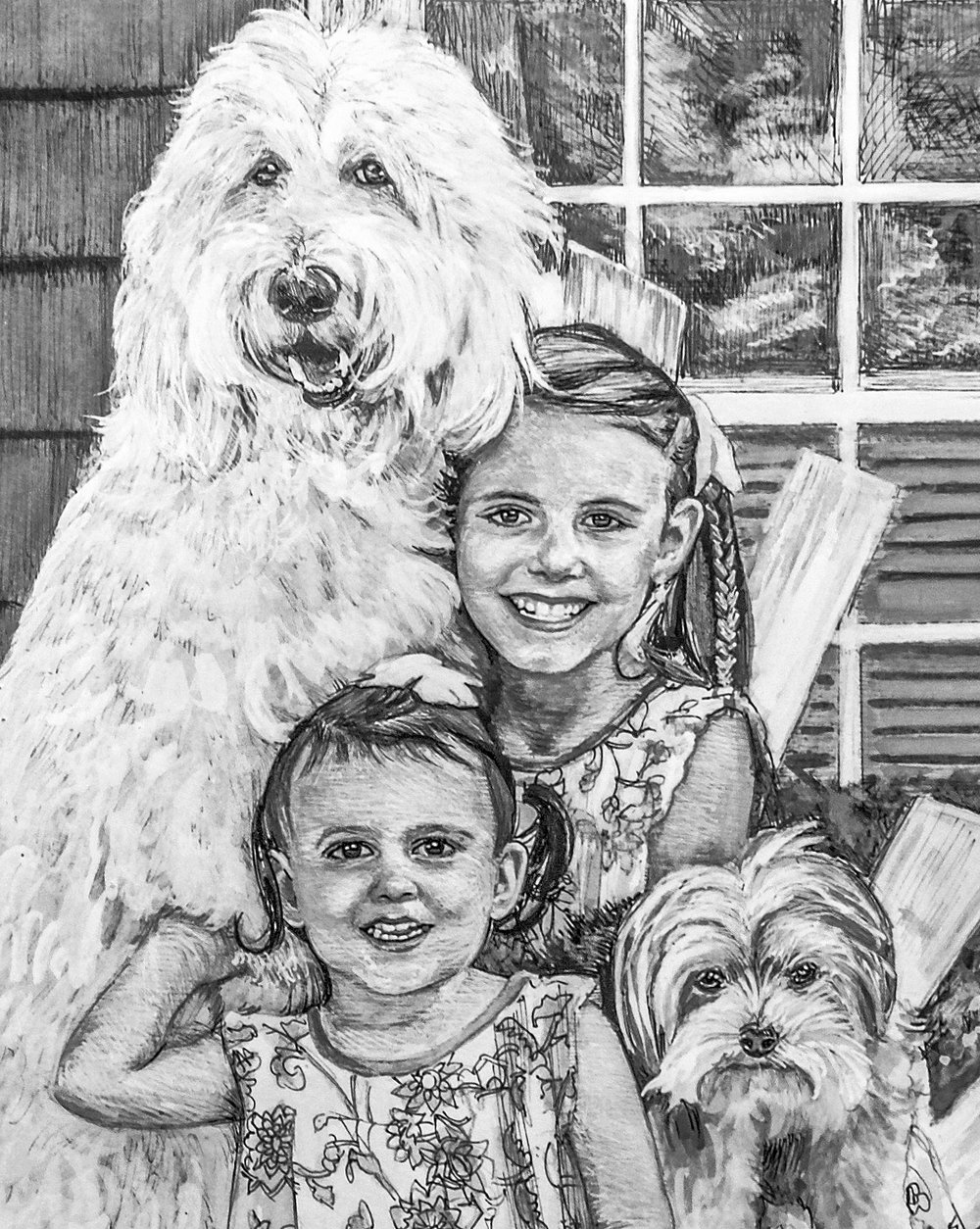 """Ansley, Audrey, Mac & Charlie""- detail • Pen and ink with ink wash"
