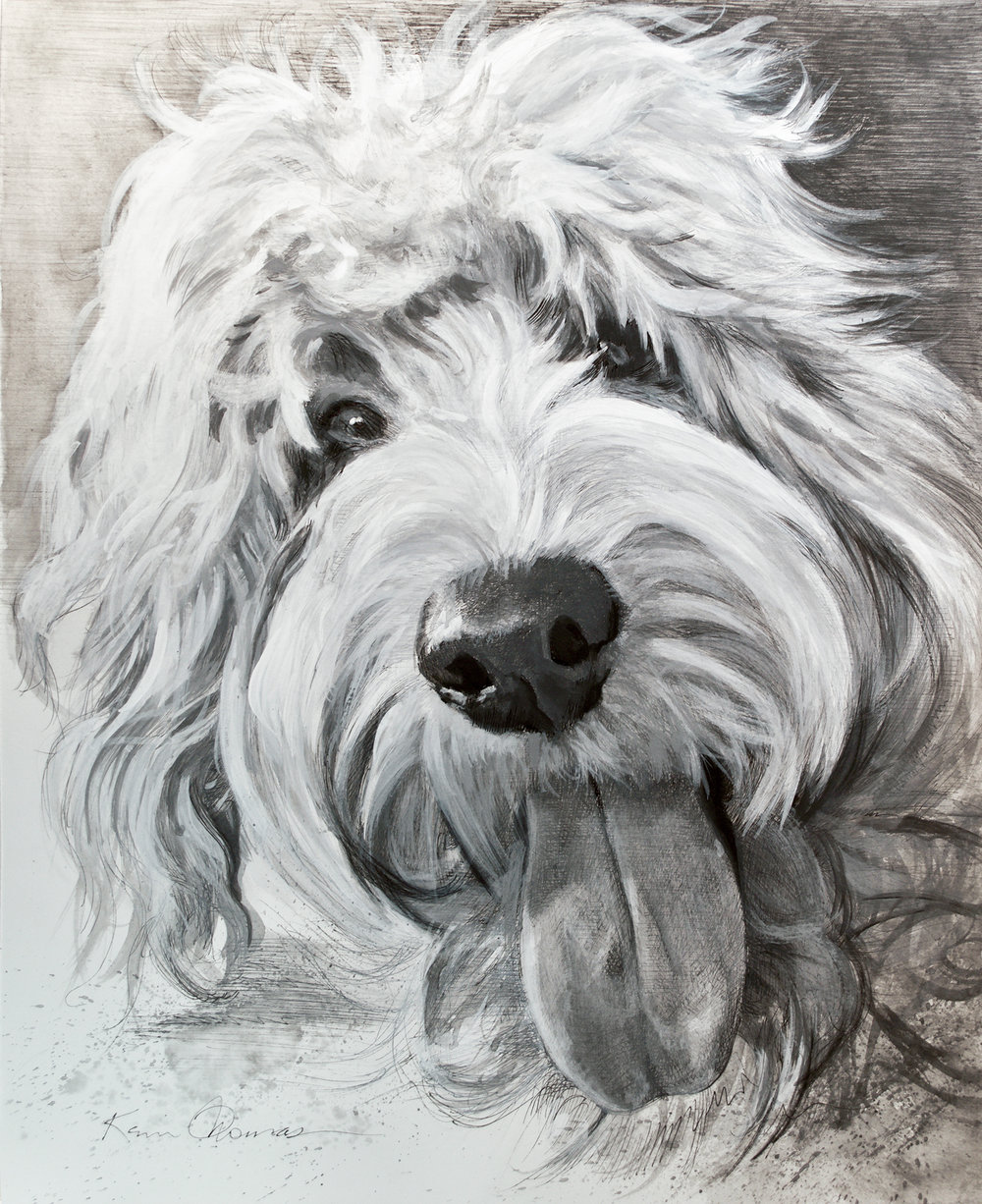 """""""Stitch"""" • 14"""" x 17  • Pen and ink with ink wash • Please see blog for progression video"""