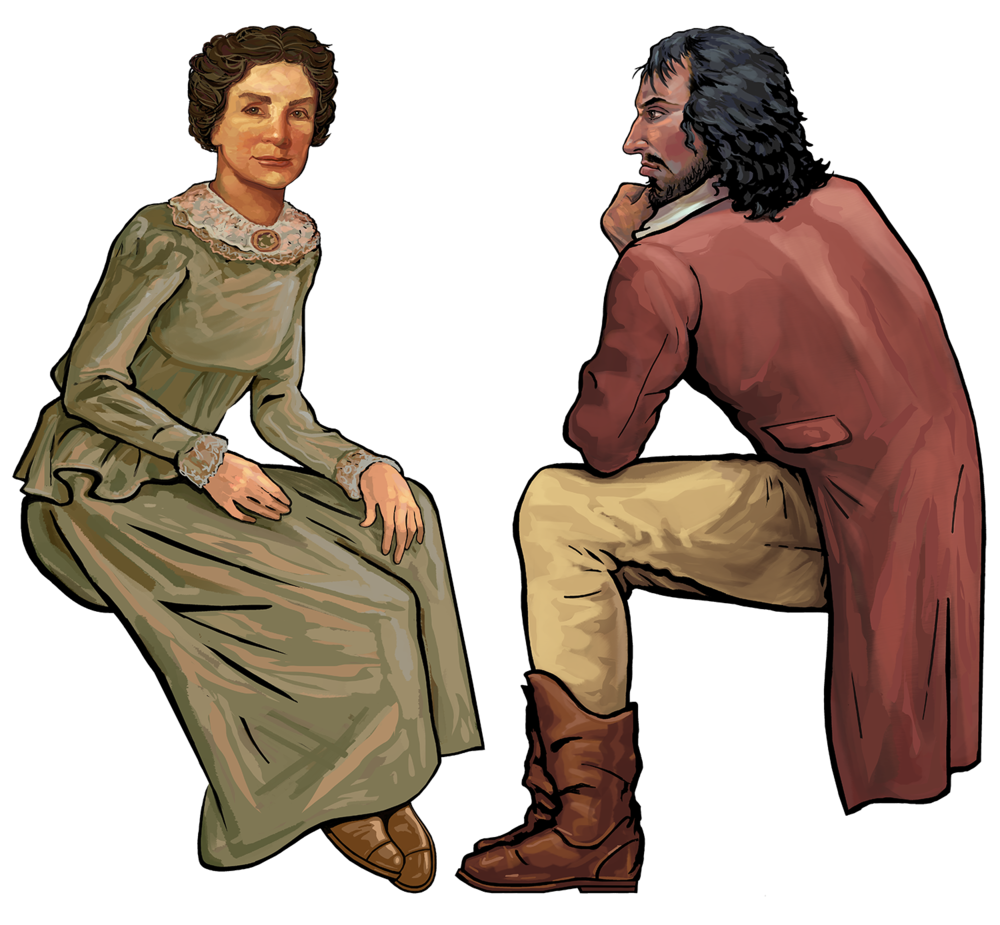 Jane Long and Jean Lafitte • Digital Illustration