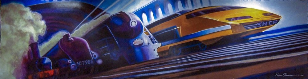 """""""Trains"""" mural- Bulletin Enamel • 12' x 35' • One of three different hand painted mural backdrops for the franchise • HobbyTown USA, Kennesaw, GA  © KT"""