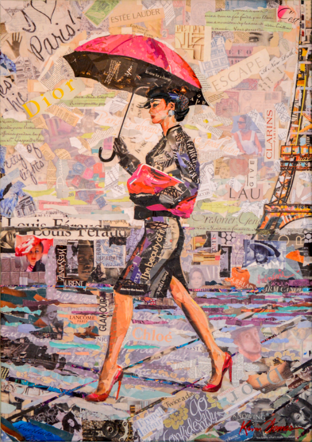 """""""Paris is always a good idea"""" • 32"""" x 46"""" • Collage on canvas(a) diptych • For Sale- please contact studio for price"""