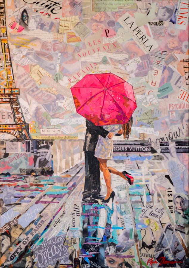 """""""Paris is always a good idea"""" • 32"""" x 46"""" • Collage on canvas (b) diptych • For Sale- please contact studio for price"""