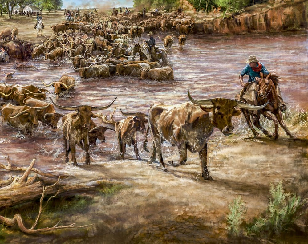 """""""Red River Mural""""- Detail • 21' 11.5"""" w by 10' h • Red River Valley Museum, Vernon, TX. © KT"""