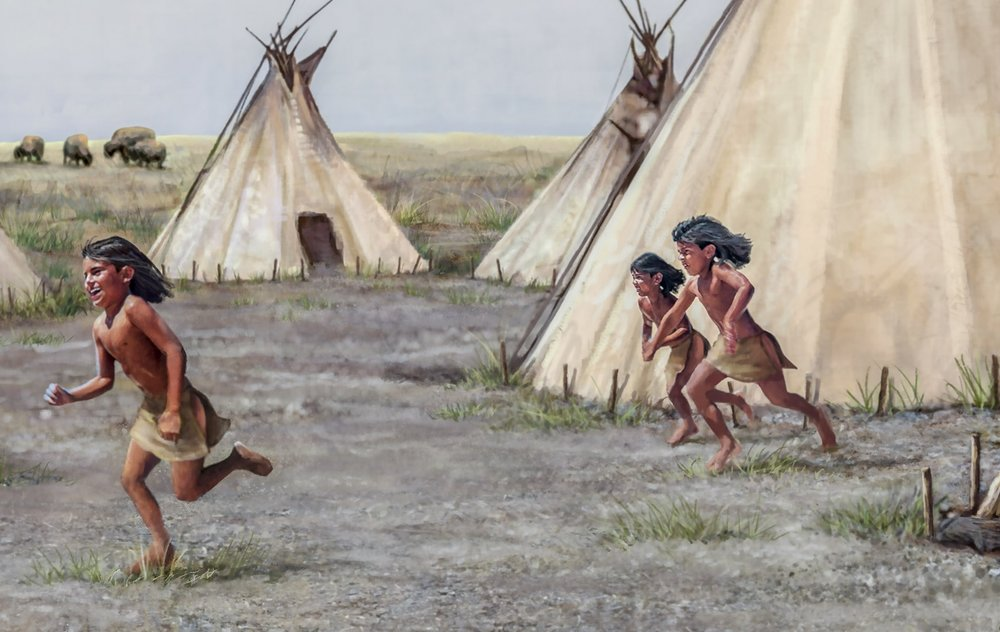 """Young natives at play"" mural- detail  • 20' 9"" by 9' • Mural was painted digitally in Photoshop w/traditional painting techniques • Forney Spellman Museum, Forney, TX. © KT"