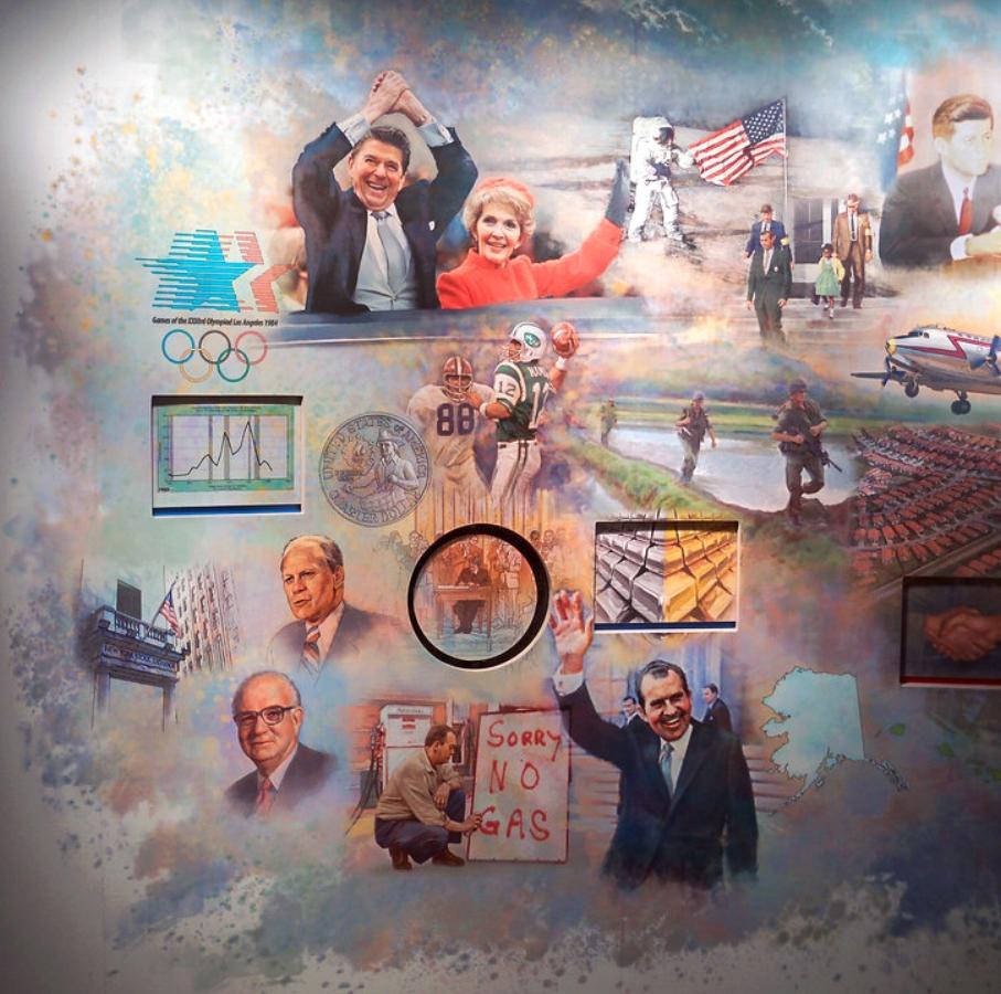 FED mural - Left Center •  9' x 17' • Digital • President Reagan, Nixon, Ford, Carter & Paul Volcker- interactive panels • Federal Reserve Bank Of Dallas, Dallas TX. © KT