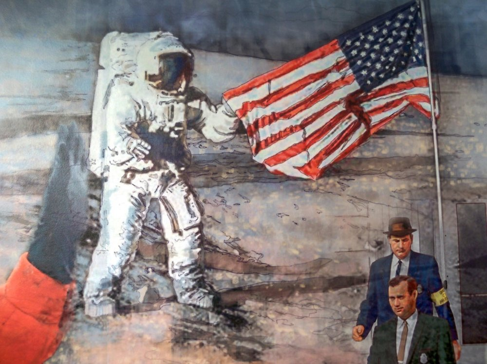 "FED mural - Center left •  9' x 17' • Digital • ""Detail of 1969 Moon landing"" • Federal Reserve Bank Of Dallas, Dallas TX. © KT"