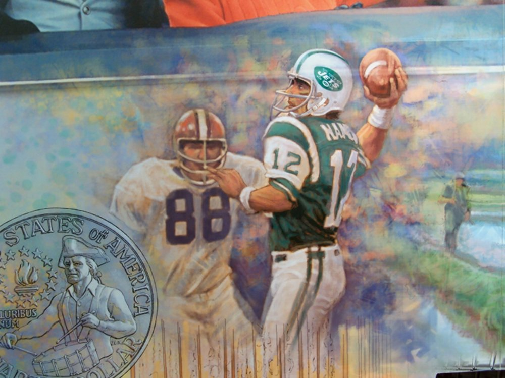 """FED mural - Lower left Center •  9' x 17' • Digital • """"Joe Namath"""" with interactive panels • Federal Reserve Bank Of Dallas, Dallax TX. © KT"""