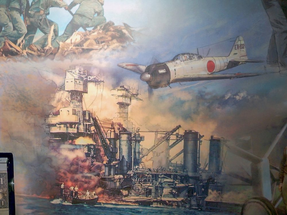 """FED mural - Center • 9' x 17' • Digital • """"Detail of the infamous attack on Pearl Harbor"""" • Federal Reserve Bank Of Dallas, Dallas TX. © KT"""
