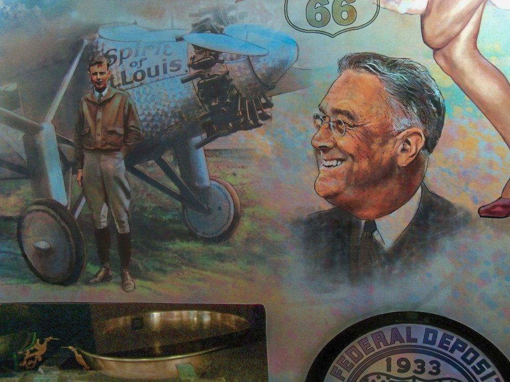 "FED mural - Center left • 9' x 17' • Digital • ""Detail of Lindbergh and President Roosevelt"" • Federal Reserve Bank Of Dallas, Dallas TX. © KT"