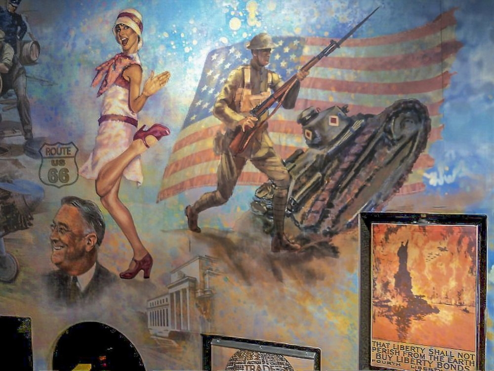 "FED mural - Center right •  9' x 17' • Digital • ""Flapper, President FDR, WWI Soldier "" with interactive panels • Federal Reserve Bank Of Dallas, Dallas TX. © KT"