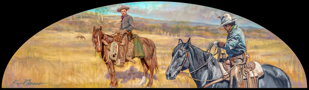 """""""Cowboys on Horseback"""" •Digital • 14""""h by 48""""w • Rendered in PhotoShop. Final artwork installed a top the entrances of Fort Worth Zoo, Fort Worth, TX. ©KT"""