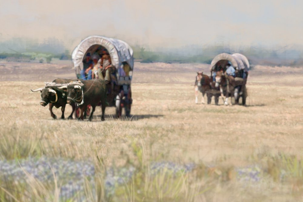 """Settlers on the Prairie""- Detail of mural background • 30' 6"" by 9' • Digital • Scene depicts settlers on their journey to Forney. • Forney Spellman Museum, Forney, TX © KT"