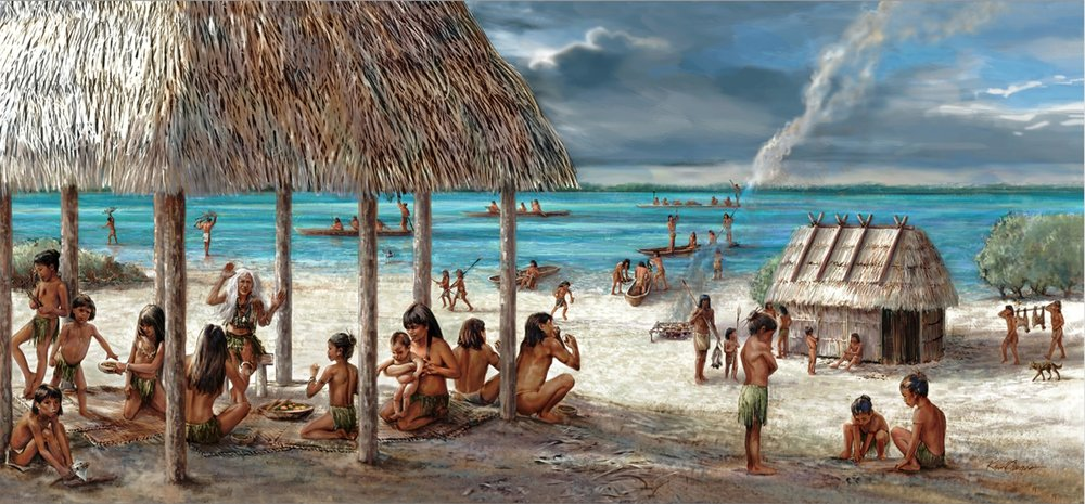 """""""The Stories Beneath Our Feet""""- detail far right • 8' 7 """"x  44' 7.5""""   Digital mural • Mound House, Town of Fort Myers, FL  © KT"""