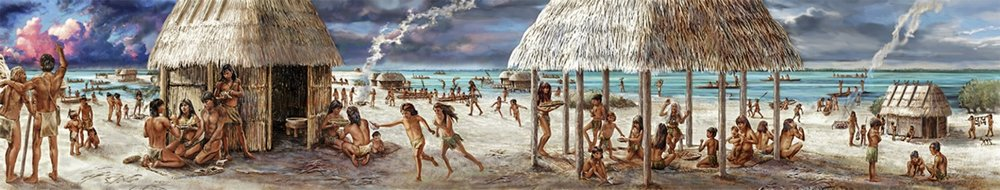 """""""The Stories Beneath Our Feet""""-  Full view  • 8' 7 """"x  44' 7.5"""" Digital painting of Florida natives- Calusa tribe on the coast of South FL approx. 600 A.D. • Mound House, Town of Fort Myers, FL © KT"""
