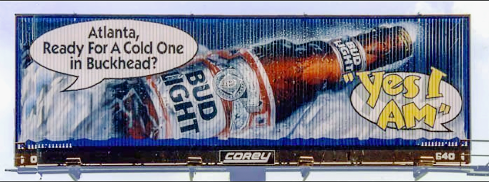 "Outdoor Advertising- ""Atlanta, ... Yes I am"" • Anheuser Busch. 14' by 48' Tri-vision, hand painted in bulletin enamel. . © KT"