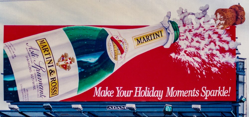 "Outdoor Advertising- ""Asti Spumante"" • Martini & Rossi. Designed & Illustrated this 14' by 48' billboard. © KT"