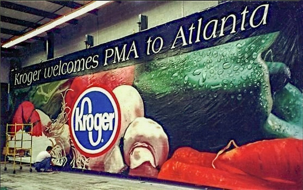 "Outdoor Advertising- ""Kroger welcomes PMA to Atlanta"" • Kroger Grocery. Hand painted 14' by 48' billboard. © KT"