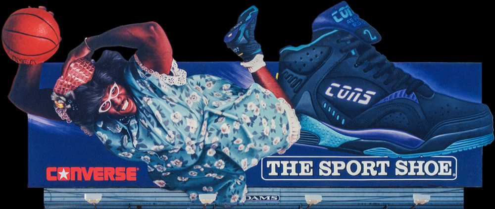 "Outdoor Advertising- ""Nike, Basketball GrandMa"" Larry Johnson • The Sports Shoe. Designed & Illustrated this 14' by 48' billboard. © KT"