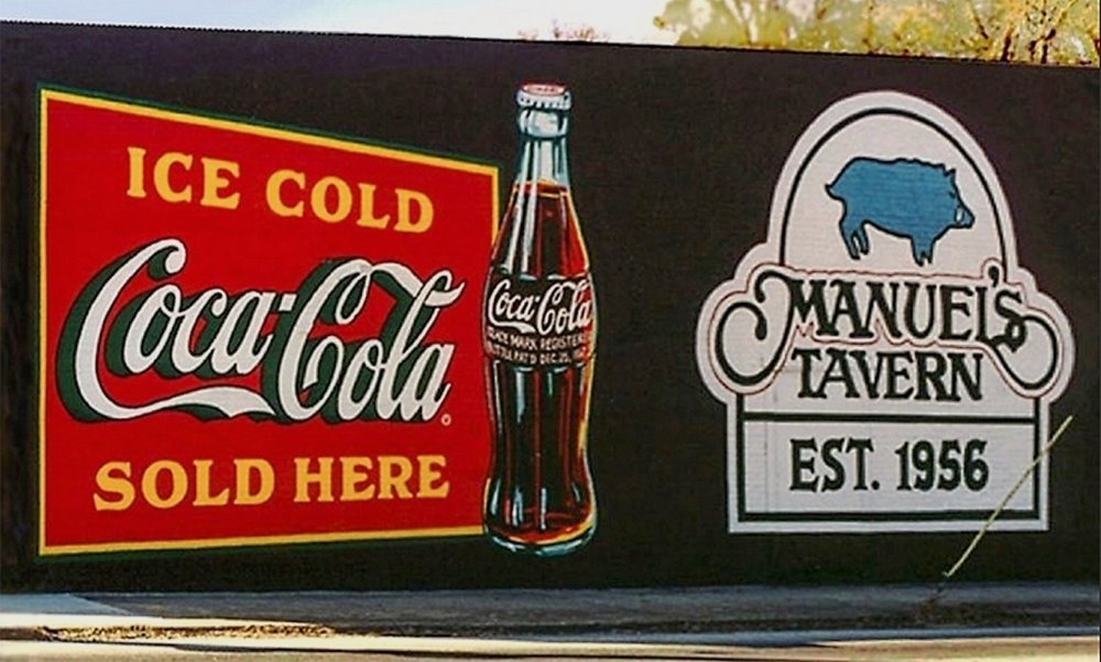 "Outdoor advertising- ""Ice Cold Coca-Cola"" • The Coca-Cola Company. Hand painted this 18' by 30' wall of Manuel's Tavern, a popular Atlanta sports bar. © KT"