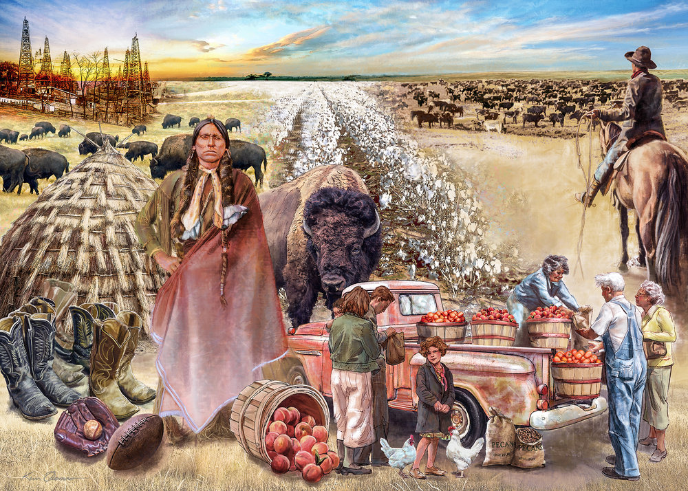 """""""Tales N' Trails Mural"""" • mural painted within Photoshop utilizing traditional painting techniques • Tales N' Trails Museum, Nocona, TX. © KT"""