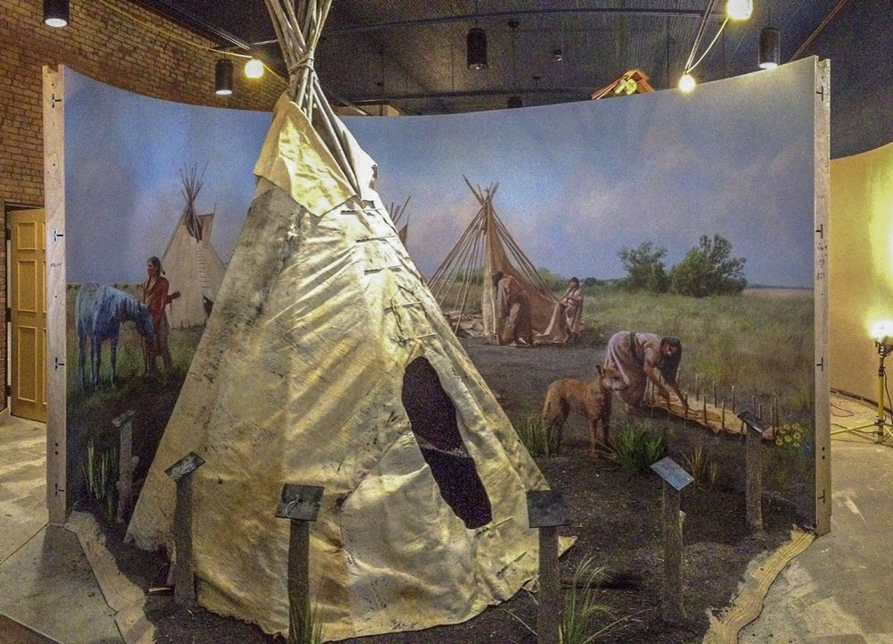 """Early stage of install- """"Native Mural"""" exhibit • 20' 9"""" by 9 • Forney Spellman Museum, Forney, TX. © KT"""