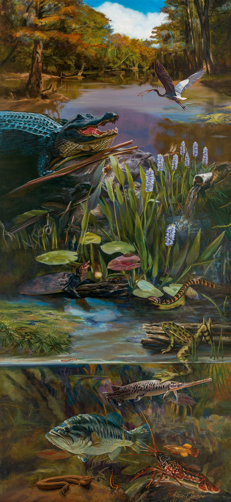 """""""Bio-accumulation mural"""" • E.O. Wilson Biophilia Center in Warren County, FL. This 4' x 9' acrylic on canvas painting depicts Florida wildlife and surrounding habitat. © KT"""