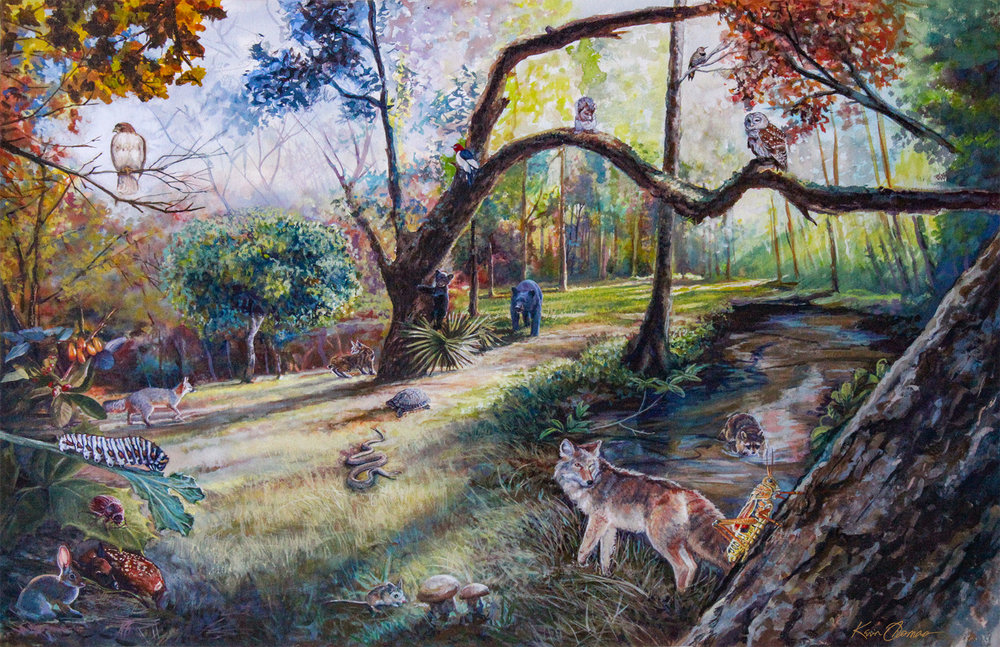 """""""Biophilia interactive mural """" • 3' x 4' Watercolor. Scene depicts delicate balance of producers & consumers within the ecosystem. E.O. Wilson Biophilia Center in Warren County, FL. © KT"""
