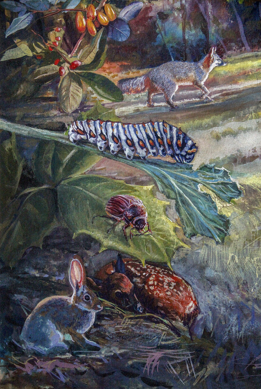 """Biophilia interactive mural """"- Lower left detail • 3' x 4' Watercolor. Scene depicts delicate balance of producers & consumers within the ecosystem. Biophilia Center in Warren County, FL. © KT"""