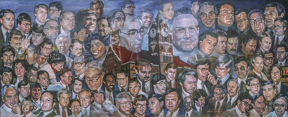"""Attorney Tribute""- Mural • 60"" x 144"" • oil on canvas • Some 90 portraits of prominent attorney's were painted in this mural. • Bowen Legal Transcriptions, Anderson, SC. © KT"