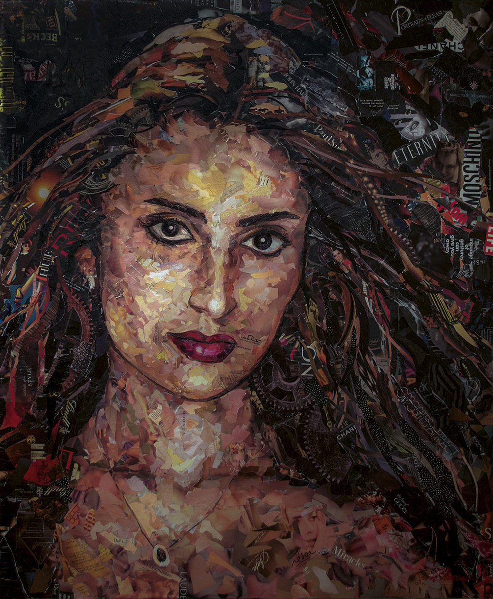 """""""Krimson"""" • 60"""" w x 72"""" h • Collage on canvas • Commission"""