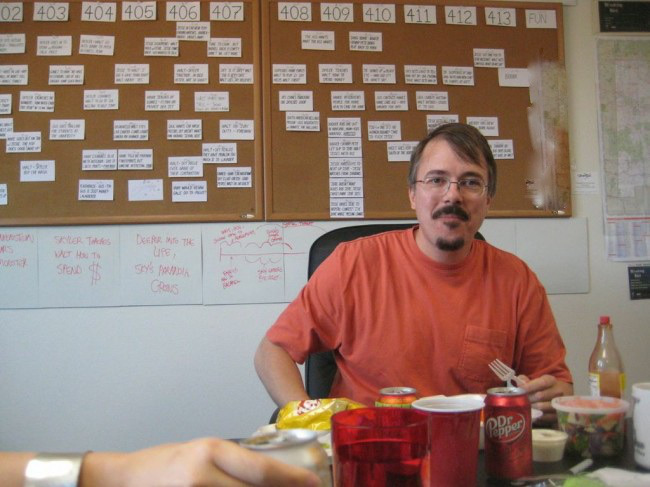 Vince Gilligan, creator of Breaking Bad, in front of a story map for Season 4.  http://uproxx.com/tv/2013/08/breaking-bad-writers-room-photos/