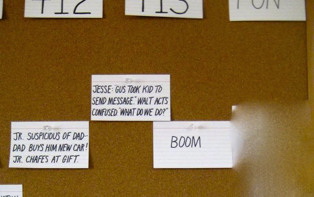 Closeup of Breaking Bad story map for Season 4. http://uproxx.com/tv/2013/08/breaking-bad-writers-room-photos/