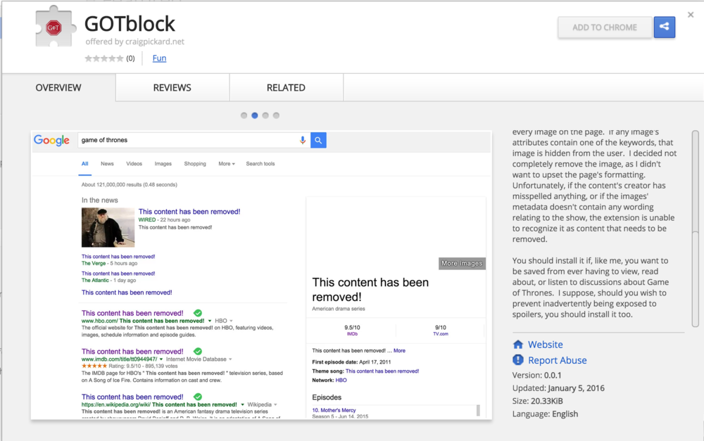 GOTblock in the Google Chrome Webstore