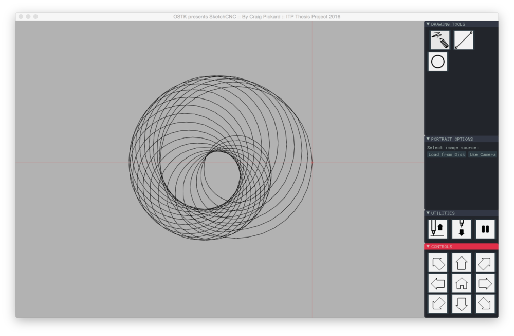 Screenshot of the prototype Graphical User Interface ( GUI ) showing three simple tools: the pencil, the line, and the circle.