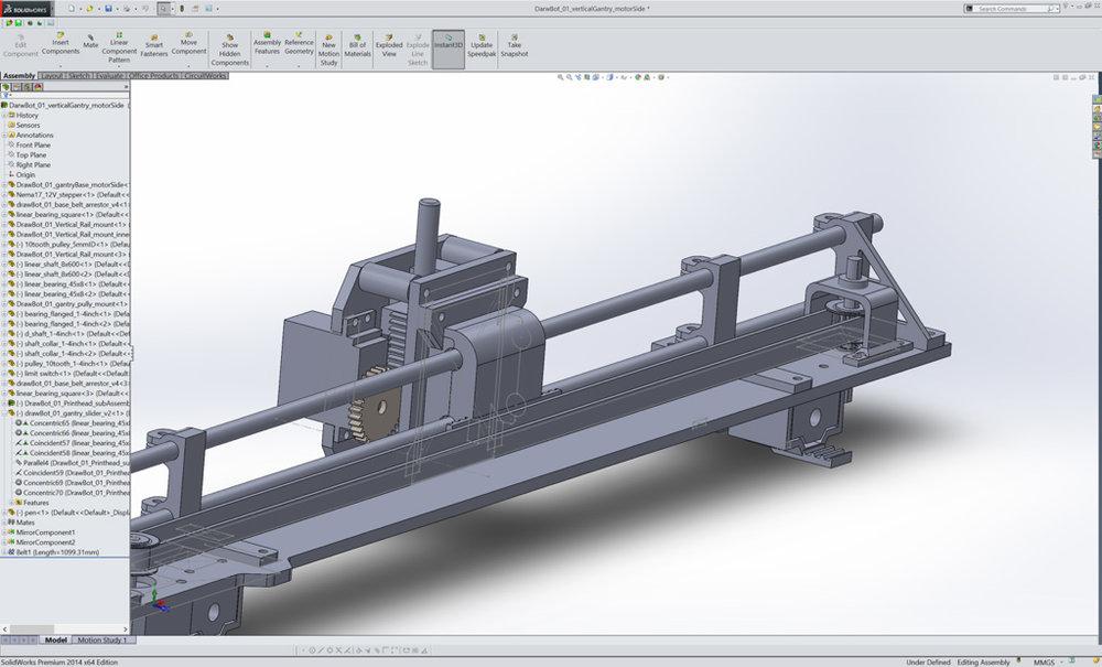 Solidworks screenshot of main gantry