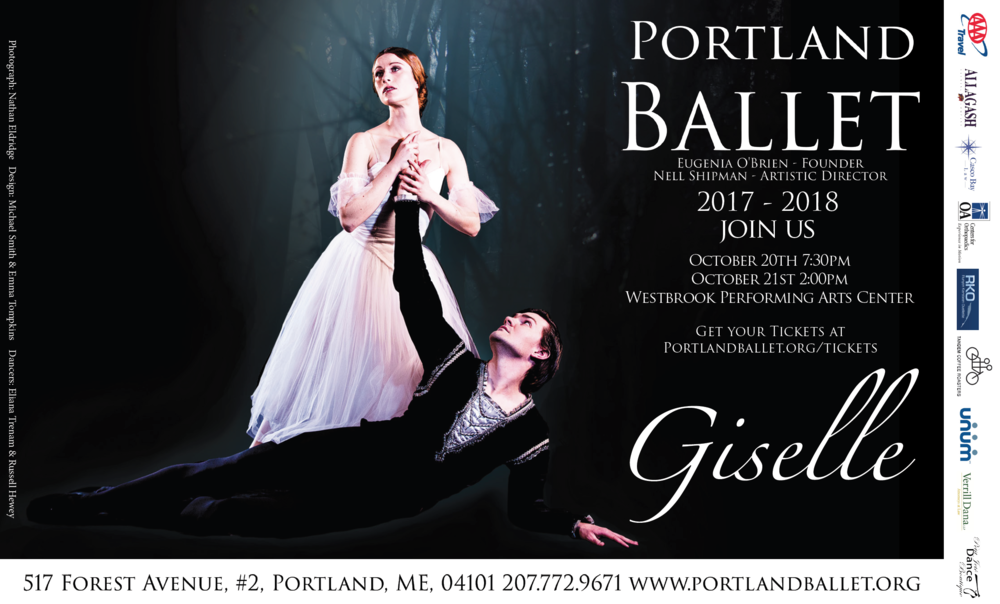 Start off our 2017-2018 season by joining us for one of classical ballet's most tragic tales of life, love, death, and forgiveness. As one of the most celebrate classical ballet works, Giselle blends exquisite choreography, haunting musical compositions, and a timeless story of love and loss. Portland Ballet is excited to begin its season with this masterpiece and excited to be back at the Westbrook Performing Arts Center. This show is enjoyed by dance fans of all ages and there is not a bad seat in the house so bring the family and enjoy an evening of dance to start off the season!