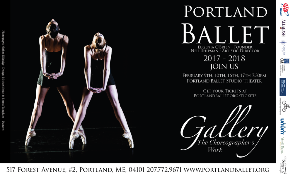 Portland Ballet will once again broaden the horizon of dance in Maine with, Gallery: The Choreographers' Work. By bringing in exciting new choreographers and showcasing their work on our professional company, Portland Ballet continues to enrich our community through dance. Gallery will be presented in the intimate setting of the Portland Ballet Studio Theater. Spend an evening with us and help to support bringing new voices to the Maine dance scene.