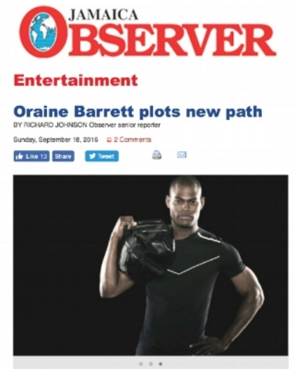 Oraine Barrett featured in Jamaica Observer, plots new path.